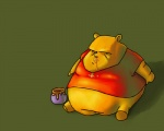 anthro bear black_eyes black_nose boomer clothing disney fur green_background honey low_res male mammal morbidly_obese obese overweight pooh_bear shirt simple_background solo unknown_artist winnie_the_pooh_(franchise) yellow_fur