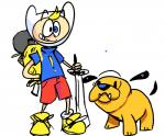 """adventure_time blue_eyes canine dog duo finn_the_human human jake_the_dog male mammal melee_weapon redesign sword weapon  Rating: Safe Score: 0 User: Juni221 Date: June 29, 2015"""""""