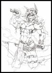 bare_chest canine clothing daddyfox holding_object holding_weapon looking_at_viewer male mammal melee_weapon monochrome pants solo stitches sword traditional_media_(artwork) undead weapon wolf  Rating: Safe Score: 1 User: Agante Date: February 08, 2016
