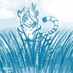2017 all_fours anthro blue_and_white breasts casual_nudity claws digitigrade eyelashes feather_in_hair feathers featureless_breasts feline female front_view fur grass grin hair hair_over_eye half-closed_eyes heresy_(artist) iris_(twokinds) keidran mammal monochrome nude signature smile solo stalking striped_fur stripes tiger toe_claws twokindsRating: QuestionableScore: 14User: ROTHYDate: April 29, 2017