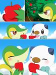 absurd_res ambiguous_gender apple comic eating feral food fruit hi_res nintendo oshawott pokémon snivy video_games winick-lim