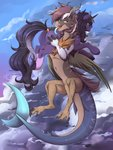 2020 absurd_res ambiguous_gender anthro black_mane black_tail brown_mane brown_tail butt butt_grab carrying carrying_partner cheek_tuft chest_tuft chimera cloud draconequus duo equid equine facial_tuft fan_character feral flying fur hand_on_butt hasbro hi_res horn looking_at_viewer looking_back mammal mane midair my_little_pony on_shoulder ponsex purple_body purple_fur rivibaes_(oc) shark_tail tan_body tan_fur tongue tongue_out tuft underhoof unicorn