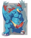 anthro big_penis blue_skin cum cumshot erection feraligatr fin glans kneeling knot male masturbation muscles nintendo nude nuroi open_mouth orgasm penis pokéball pokémon solo teeth video_games yellow_eyes  Rating: Explicit Score: 12 User: Blind_Guardian Date: July 04, 2015""