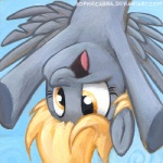 2013 blonde_hair derp_eyes derpy_hooves_(mlp) equine feathered_wings feathers female friendship_is_magic grey_feathers hair low_res mammal my_little_pony pegasus portrait smile solo sophiecabra upside_down wings yellow_eyes