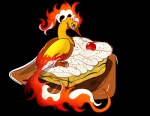 2016 alpha_channel ambiguous_gender avian beak bird cherry dessert feathers feral fire food fruit legendary_pokémon looking_at_viewer moltres nintendo pokémon red_eyes simple_background solo transparent_background tres_leches unibat video_games wings