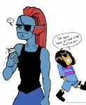 ambiguous_gender angry cellphone duo eye_patch eyewear female fish foervraengd hair human humanoid humor mammal marine muscular muscular_female phone protagonist_(undertale) red_hair simple_background undertale undyne video_games white_background