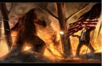 big_foot bigfoot blood bullet fire flag gun human m60 male mammal monster ranged_weapon sasquatch sharpwriter smoking stars_and_stripes suit teddy_roosevelt theodore_roosevelt tree united_states_of_america warm_colors weapon   Rating: Safe  Score: 11  User: Conker  Date: May 31, 2013