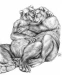 2011 ambiguous_gender anthro bear blotch claws cute duo greyscale hand_on_chest hi_res hindpaw hug mammal monochrome one_eye_closed overweight pawpads paws romantic_couple simple_background sitting sketch slightly_chubby white_background  Rating: Safe Score: 7 User: Vinea Date: March 26, 2014