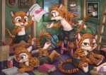 aged_down barefoot bed clothed clothing cub dialogue disney english_text excited feline furgonomics group lying male mammal on_front open_mouth pawpads reading running signature silverfox5213 sitting stool stripper_tiger_(zootopia) text tiger topless unimpressed url young zootopia zootopia_shortsRating: SafeScore: 1User: CirceusDate: August 24, 2016