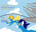 2011 blue_hair bodysuit clothing comic dialogue english_text equine eyewear female feral friendship_is_magic goggles hair male mammal my_little_pony orange_hair pegasus simple_background skinsuit soarin_(mlp) spitfire_(mlp) taharon text wings wonderbolts_(mlp)   Rating: Safe  Score: 1  User: 133710|2|)  Date: September 02, 2011
