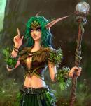 belt bracelet breasts cleavage clothed clothing druid elf female grass green_hair hair humanoid jewelry leaves looking_at_viewer magic_user navel night_elf not_furry open_mouth pointing skimpy skirt solo staff tree tribal_spellcaster unknown_artist vest video_games warcraft world  Rating: Safe Score: 14 User: Valadheil666 Date: August 16, 2015
