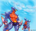 abs anthro anthrofied bandage bikini black_sclera breasts clothed clothing dual_wielding duo female gabite hi_res holding_object holding_weapon knife larger_male looking_at_viewer male mega_evolution mega_garchomp muscular muscular_male nintendo one_eye_closed open_mouth outside pokémon pokémon_(species) scar sharp_teeth shorts size_difference slightly_chubby smaller_female smile spikes swimsuit teeth topless video_games vipery-07 weapon wide_hips wink yellow_eyes