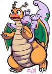 ambiguous_gender blush cute dragonite duo feral glomp goodra hug nintendo orange_skin pokémon simple_background unknown_artist video_games  Rating: Safe Score: 6 User: Emblem Date: August 23, 2015