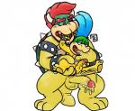 age_difference anal anal_penetration blue_hair blush bowser bowserboy101 cuffs_(disambiguation) cum cum_in_mouth cum_inside duo finger_in_mouth hair hand_in_mouth hi_res horn king koopa koopalings larry_koopa leash male male/male mario_bros messy nintendo oral penetration penis red_hair royalty saliva scalie shell simple_background size_difference video_games white_background young  Rating: Explicit Score: 3 User: Zest Date: January 30, 2016