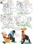 3:4 ambiguous_gender anthro canid canid_taur canine canine_taur collar conditional_dnp duo english_text female feral fox fox_taur genitals girafarig goo_(disambiguation) hi_res hypnosis lustylamb mammal mammal_taur merging mind_control nintendo partial_color pokémon pokémon_(species) pussy shrinking size_transformation taur text transformation video_games