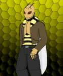 """antennae arthropod bee clothed clothing fluffy fur half-dressed insect jacket male open_shirt red_eyes rumble_bee shirt solo standing titankerberos tuft wings  Rating: Safe Score: 1 User: Houndsoffate Date: May 29, 2015"""""""