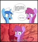 2015 berry_punch_(mlp) bio-999 colgate_(mlp) comic dialogue duo earth_pony english_text equine female feral friendship_is_magic hair horn horse looking_at_viewer mammal multicolored_hair my_little_pony pony text two_tone_hair unicorn  Rating: Safe Score: 20 User: Egekilde Date: February 05, 2016