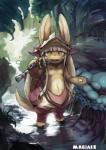ambiguous_gender anthro brown_fur feral fishing_rod fur hair hollow_(species) lagomorph lizard looking_at_viewer made_in_abyss magiace mammal nanachi open_mouth rabbit reptile scalie solo whiskers white_hair yellow_eyes