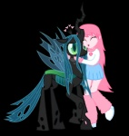 2014 <3 alpha_channel changeling clothing duo fan_character female fluffle_puff friendship_is_magic fur green_eyes green_hair hair holes horn hug human humanized mammal mixermike622 my_little_pony pink_hair plain_background queen_chrysalis_(mlp) slit_pupils transparent_background wings  Rating: Safe Score: 14 User: 2DUK Date: August 06, 2014""