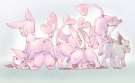 16:10 alternate_color ambiguous_gender blush butt eeveelution espeon featureless_crotch feral group hi_res lying nintendo pokémon tears tongue ushimaru video_games