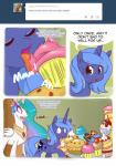 angry cake comic cute eating english_text equine female feral food friendship_is_magic horn horse loopend mammal my_little_pony pie pony princess_celestia_(mlp) princess_luna_(mlp) smile sweets text tumblr winged_unicorn wings   Rating: Safe  Score: 6  User: darknessRising  Date: September 21, 2013