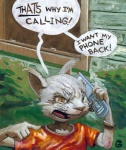 anthro cellphone chris_goodwin clothing dialogue domestic_cat english_text felid feline felis male mammal phone shirt solo text