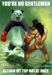 bear black_hair boxing_gloves butt english_text eyewear fight fundoshi gaping_maw hair hat human male mammal meme monocle muscles open_mouth panda source_request terribly_british text topless underwear unknown_artist   Rating: Safe  Score: 30  User: Colibri  Date: August 02, 2013