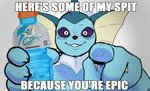 absurd_res ambiguous_fluids ambiguous_gender anthro blush bottle dialogue digital_media_(artwork) edit eeveelution english_text frill_(anatomy) gatorade gesture goonie-san hi_res humor image_macro impact_(font) looking_at_viewer meme nintendo pointing pokémon pokémon_(species) shopped simple_background smile solo text vaporeon video_games what white_eyes why