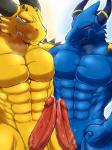 2014 abs animal_genitalia anthro arm_around_shoulders biceps big_muscles big_penis blue_body blue_dragon_(character) blue_dragon_(series) blue_eyes blue_skin blush claws dragon drooling duo erection fangs fist front_view frottage genital_slit grin happy horn humanoid_penis jewelry leaking male male/male manly muscles nude pecs penis pose precum red_eyes ring rudolph_(blue_dragon) ryuukikeito saliva scales scalie sex sharp_claws sharp_teeth sheath slit smile spikes standing sweat teeth toned vein veiny_penis yellow_body yellow_skin  Rating: Explicit Score: 16 User: WiiFitTrainer Date: July 16, 2014""