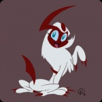 2010 absol ambiguous_gender blue_eyes blue_sclera claws cute feral fur gantzcraziness happy looking_back nintendo open_mouth pokémon red_skin shiny_pokémon sitting solo video_games white_fur