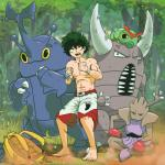 absurd_res ambiguous_gender arthropod bag boxing_gloves caterpie clothing detailed_background forest green_hair group hair hajime_no_ippo heracross hi_res hitmonchan human insect male mammal midoriya_izuku my_hero_academia nintendo pinsir pokéball pokémon pokémon_(species) shorts team_pose tree video_games zeaw90