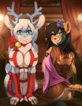 2015 anthro antlers big_breasts breasts butt cervine chococosalo collaboration conditional_dnp cyan_eyes deer duo female harness hi_res horn looking_at_viewer mammal pussy scappo smile  Rating: Explicit Score: 36 User: Numeroth Date: September 16, 2015