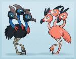 2016 3_heads alternate_species ambiguous_gender angry avian beak biped bird black_feathers blue_background blue_border blue_skin border cassowary claws crest digital_drawing_(artwork) digital_media_(artwork) digitigrade dodrio duo eye_contact facial_markings fakémon feathers feral flamingo grey_beak grey_skin grey_stripes looking_at_another markings multi_head multicolored_beak muzzle_(marking) nintendo nude open_mouth outline pattern_background pink_beak pink_feathers pink_skin pokémon pokémon_(species) raised_leg red_beak red_stripes regional_variant royalty_(artist) side_view signature simple_background smile standing striped_beak stripes tail_feathers talons video_games wattle webbed_feet white_skin