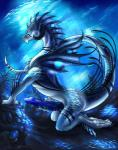 2016 anthro aquatic_dragon arm_support big_penis blue_penis claws digital_media_(artwork) dragon erection hi_res horn kneeling male masturbation nude penile_masturbation penis scalie side_view solo underwater water wings yami_griffin  Rating: Explicit Score: 81 User: voldosbt Date: January 20, 2016