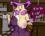 2017 anthro anthrofied beverage big_breasts breasts coffee delcatty digital_media_(artwork) feline female fur kitchen mammal milfcatty_(mortal_chocolate) mortal_chocolate mother nintendo nipples parent pokémon pokémon_(species) pokémorph smile solo teeth text tired video_games