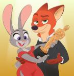 2017 4_fingers abstract_background acstlu anthro award bare_shoulders black_nose bow_tie breasts buckteeth canine clothing dipstick_ears disney dress duo eyebrows female fox fur green_eyes grey_fur half-closed_eyes half-length_portrait hand_behind_back happy hi_res holding_object inner_ear_fluff judy_hopps lagomorph looking_at_viewer male mammal nick_wilde open_mouth open_smile orange_fur oscar_statuette pawpads pink_nose portrait purple_eyes rabbit simple_background size_difference small_breasts smile suit teeth tongue tuxedo wide_hips zootopiaRating: SafeScore: 11User: NeferpitouDate: August 16, 2017