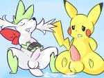 arms_tied balls blue_background bound cum cum_on_ground cumshot duo electric_type grass_type hands-free male nintendo orgasm pcred566 penis pikachu plain_background pokémon shaymin tongue tongue_out video_games   Rating: Explicit  Score: 7  User: Hyper_Beam  Date: April 02, 2015