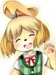 animal_crossing anthro black_nose blonde_hair canine clothing dog eyes_closed female fur hair hair_ornament isabelle_(animal_crossing) mammal nintendo short_hair solo uniform unknown_artist video_games white_fur yellow_fur  Rating: Safe Score: 1 User: Cαnε751 Date: November 09, 2015