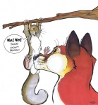 """ambiguous_gender balls canine duo english_text fellatio fox interspecies male mammal marker_(artwork) oral plain_background predator/prey_relations rodent roz_gibson sex size_difference squirrel text traditional_media_(artwork) tree white_background  Rating: Explicit Score: 22 User: slyroon Date: May 16, 2015"""""""