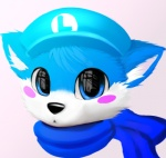 2013 anthro big_eyes black_nose blue_eyes blue_fur canine cute eye_reflection flat_cap front_view fur headshot_portrait jamesfoxbr looking_at_viewer low_res male mammal portrait scarf simple_background solo toony white_background white_fur young