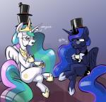 2015 beverage crown dimfann duo equine female feral friendship_is_magic hat horn mammal my_little_pony princess_celestia_(mlp) princess_luna_(mlp) tea terribly_british winged_unicorn wings   Rating: Safe  Score: 13  User: Robinebra  Date: April 10, 2015