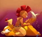 anthro butt butt_bongos butt_slap floatzel humor musical_note nintendo pokémon potoobrigham scrafty simple_background slap video_games