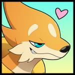 <3 ambiguous_gender blitzdrachin blue_eyes close-up colton floatzel fur half-closed_eyes icon mammal mustelid nintendo pokémon pokémon_(species) portrait reaction_image sharp_teeth simple_background smile smug solo teeth video_games