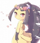 ambiguous_gender black_hair butt clothing cute dress eyelashes flower hair looking_at_viewer mawile nintendo plant pokémon red_eyes simple_background smile solo standing teeth video_games white_background youki  Rating: Safe Score: 2 User: DeltaFlame Date: October 10, 2015