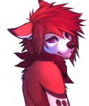 2013 anthro bandanna canine cenny digital_media_(artwork) dog falvie fur hair looking_at_viewer looking_back male mammal neckerchief purple_eyes red_fur red_hair solo