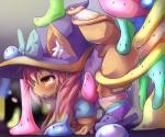 all_fours amber_eyes anthro blush bow clothed clothing crying dagasi double_penetration dripping feline female goo hair hat long_hair mammal penetration pink_hair pussy_juice ribbons saliva slime slippers socks sweat tears witch_hat   Rating: Explicit  Score: 9  User: chdgs  Date: May 13, 2015