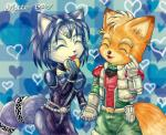 <3 anthro belt black_nose blue_fur blue_hair bodysuit brown_fur canine clothing couple duo eyes_closed female food fox fox_mccloud fur gem gloves hair hair_ornament happy jacket jewelry krystal male mammal nintendo short_hair skinsuit smile star_fox unknown_artist video_games white_fur  Rating: Safe Score: 3 User: Cαnε751 Date: June 13, 2015