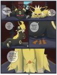 animal_genitalia balls comic dialogue eeveelution english_text feral horny_(disambiguation) jolteon male nintendo outside penis penis_tip pokémon sheath text umbreon video_games xxgato
