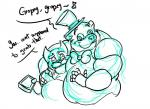 animatronic anthro bear bow_tie chubby clothing duo english_text facial_hair five_nights_at_freddy's freddy_(fnaf) fur grope hat machine mammal mechanical plain_background robot shirt sketch text top_hat uniparasite video_games white_background   Rating: Questionable  Score: 0  User: Notkastar  Date: May 19, 2015