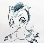 8x2xc all_fours ambiguous_gender chibi claws digimon fangs feral fur gomamon greyscale hair long_ears mammal markings mohawk monochrome seal simple_background solo teeth traditional_media_(artwork)  Rating: Safe Score: 0 User: Tarukaja Date: August 01, 2015